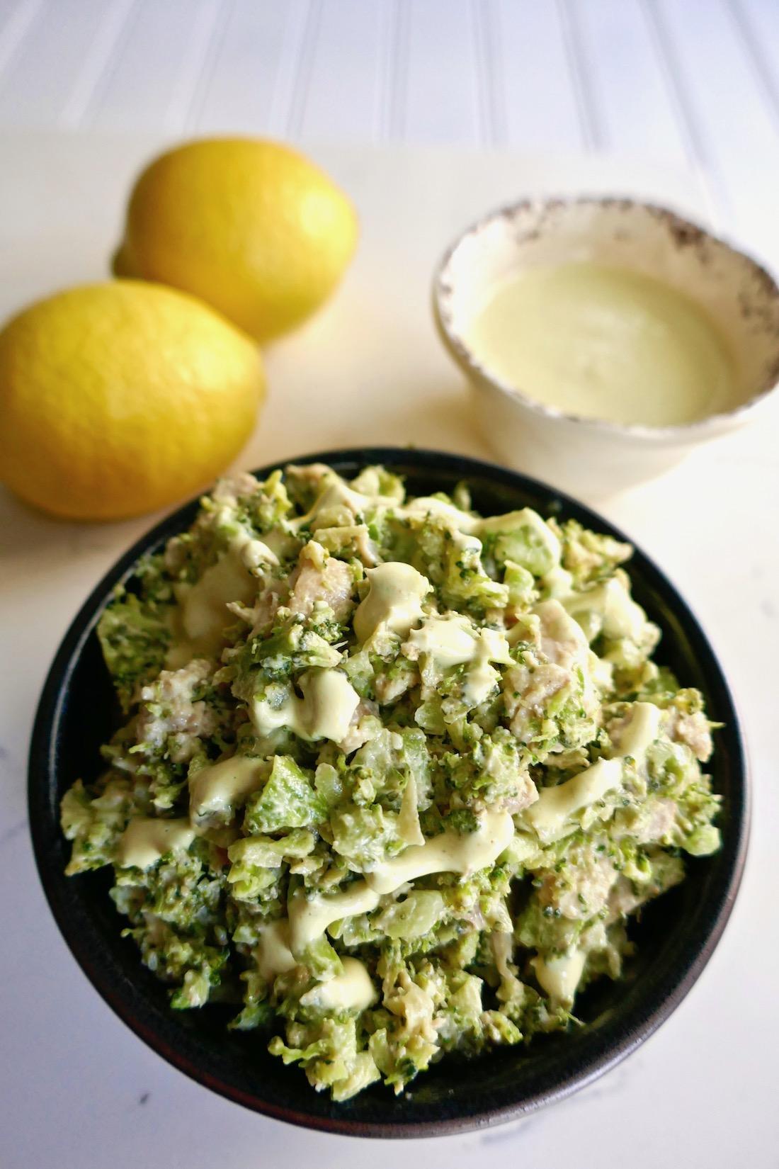 Curry broccoli chicken slaw