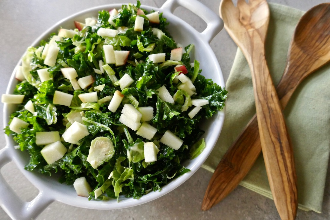 Paleo and Vegan Kale and brussels sprout salad
