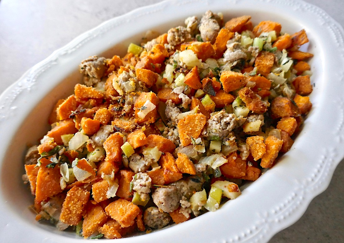 Sweet potato sausage stuffing - a great healthy holiday food swap for a gluten free stuffing
