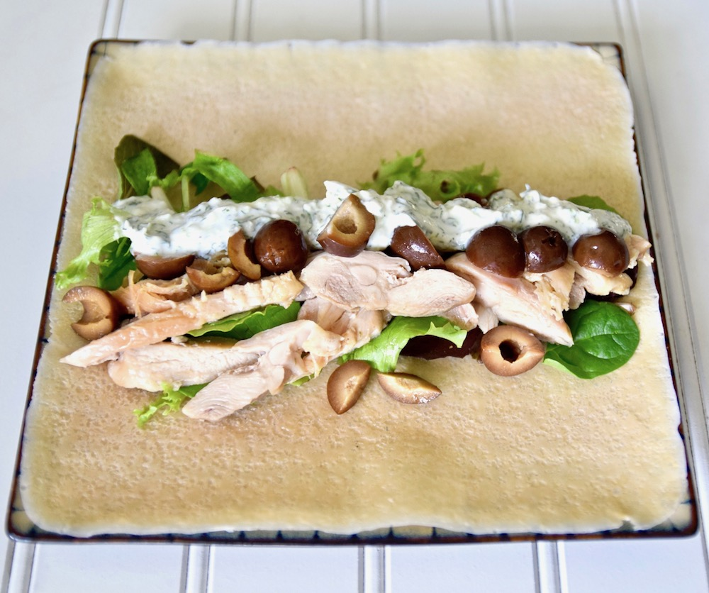 Dairy free turkey tzatziki wrap, a paleo healthy holiday food swap for Thanksgiving leftovers