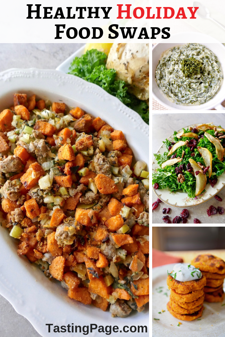 With heavy holiday meals on the horizon, here are some healthy holiday food swaps to keep you energized and feeling good while still enjoying great recipes. | TastingPage.com #healthyholiday #holiday #holidayrecipes #foodswaps #foodsubstitutions #glutenfree #dairyfree #paleo