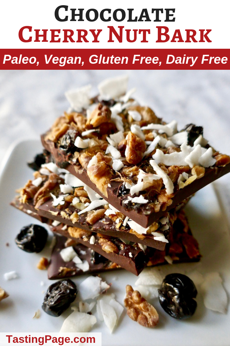 Chocolate cherry nut bark - a great healthy holiday dessert to indulge in | TastingPage.com #vegandessert #paleodessert #bark #healthydessert #chocolate