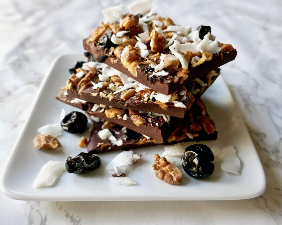 Chocolate bark with cherries and nuts