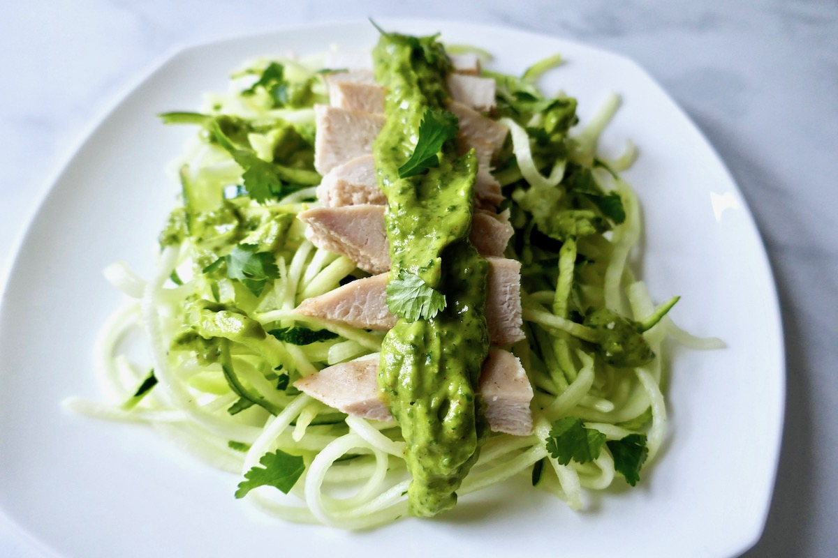 Chicken and zoodles with spicy avocado sauce