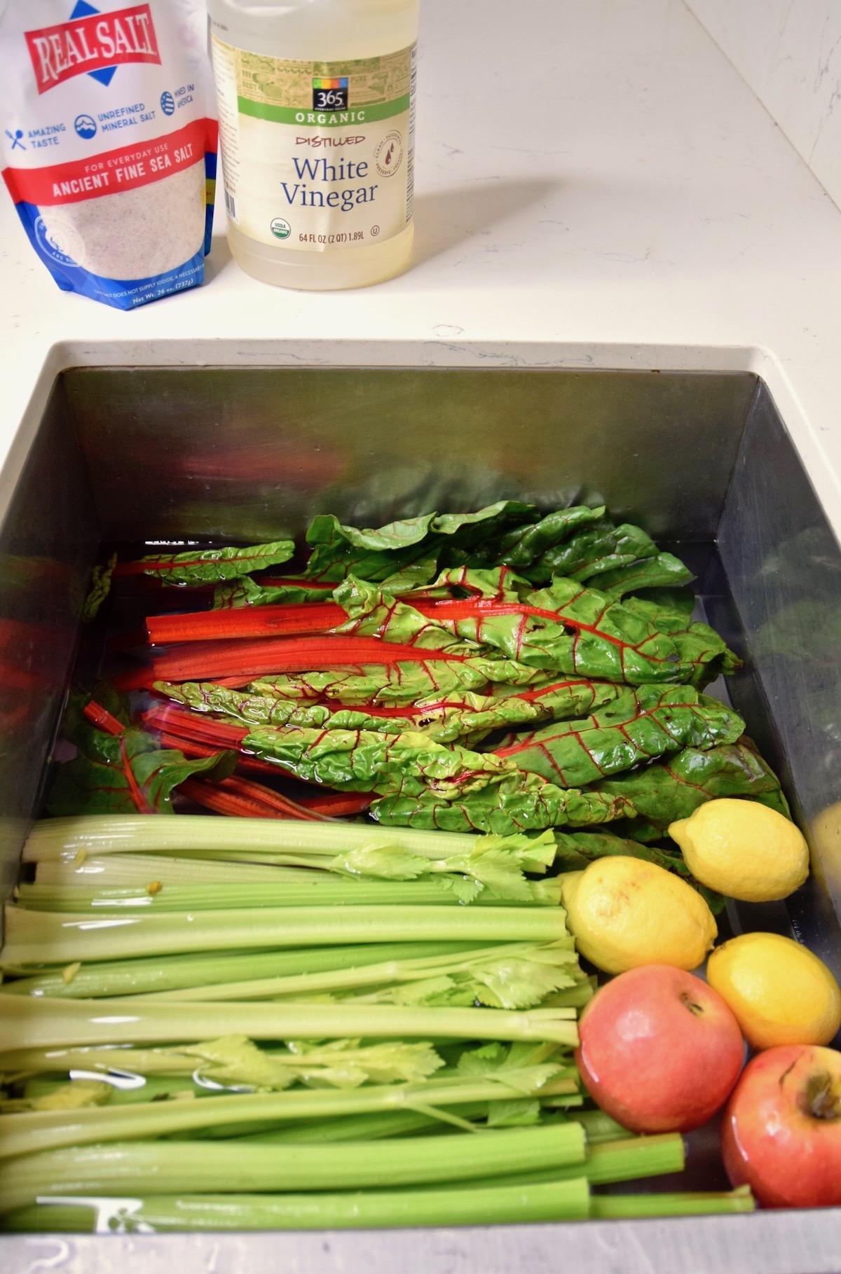 vinegar and salt with soaking vegetables