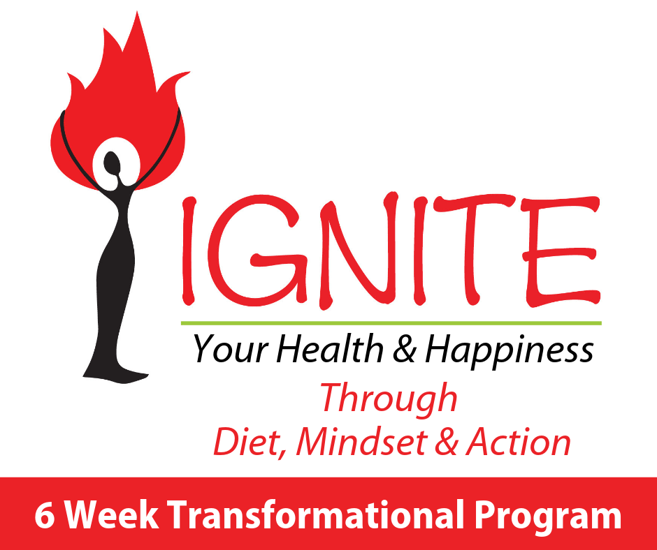 6-Week Program - IGNITE your health and happiness through diet, mindset, and positive action. Healthy living is composed of many different components ranging from what you eat to how you think and the movement you make every day. When one area of your life gets depleted, it can impact all of the others. This small group program meets once a year and examines all aspects of healthy living and gives you tools to create a life you love. You can also go through the program individually for full customization to your needs.