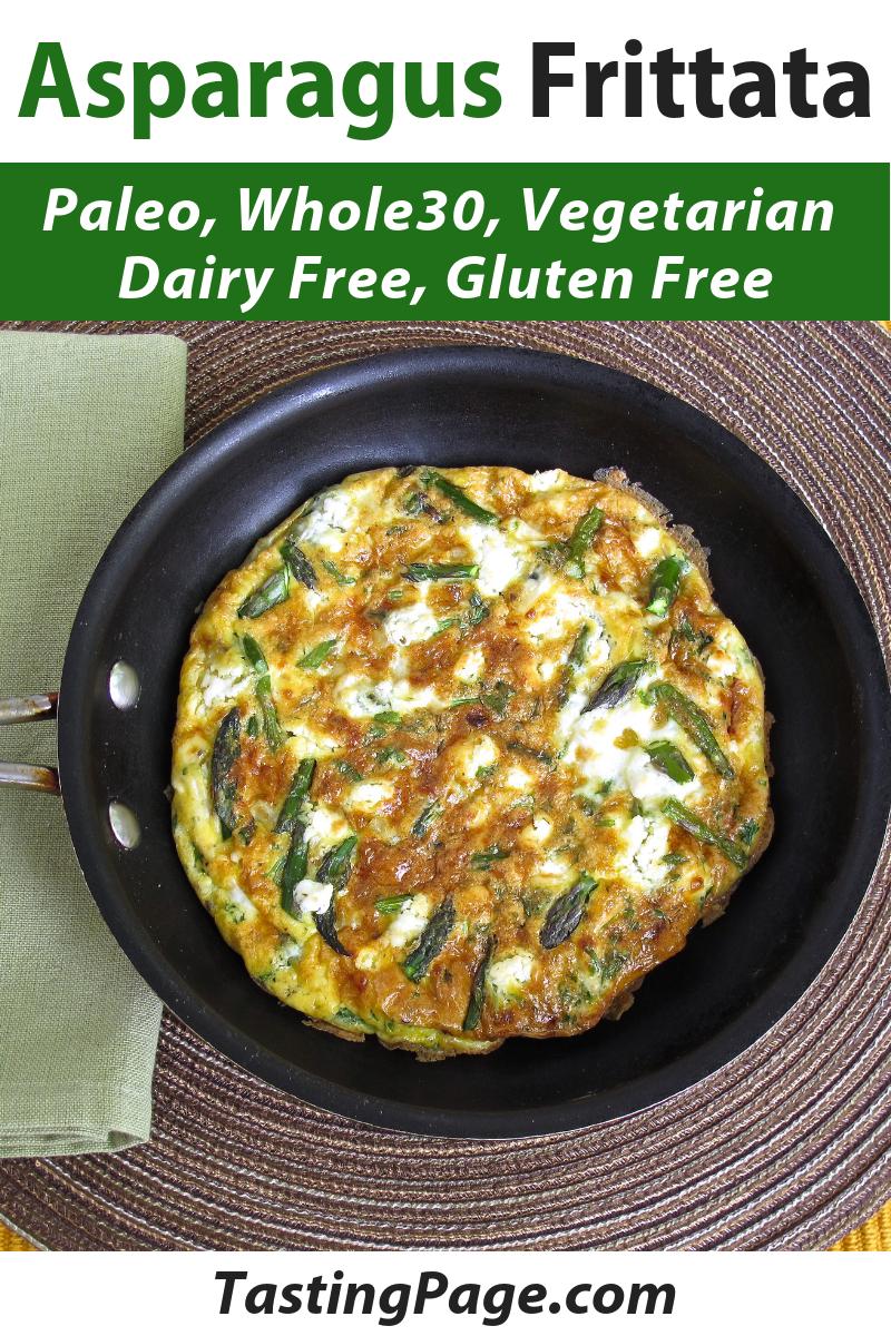 Paleo asparagus frittata - paleo, gluten free, whole30 and vegetarian | TastingPage.com #breakfast #healthybreakfast #paleo #whole30 #vegetarian #healthyrecipe