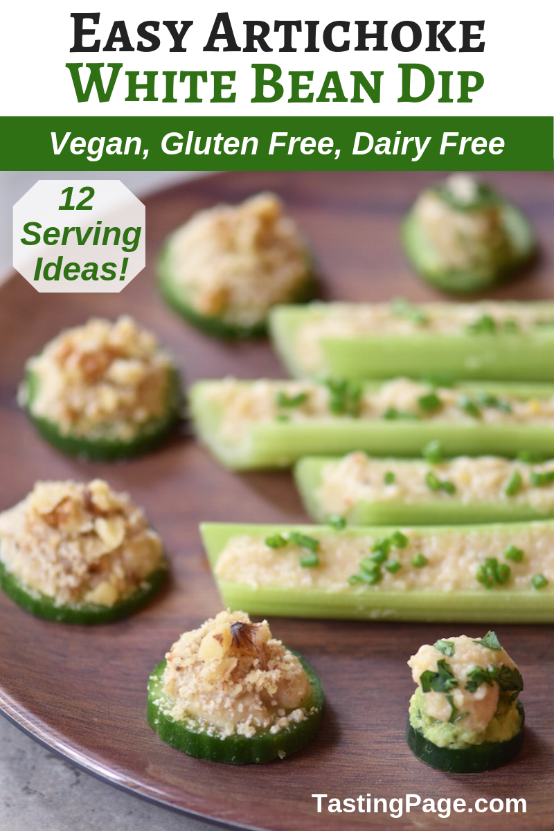 Easy artichoke white bean dip with a dozen serving options | TastingPage.com #dip #appetizer #healthysnack #vegan #glutenfree #veganappetizer #glutenfreeappetizer #healthyrecipe