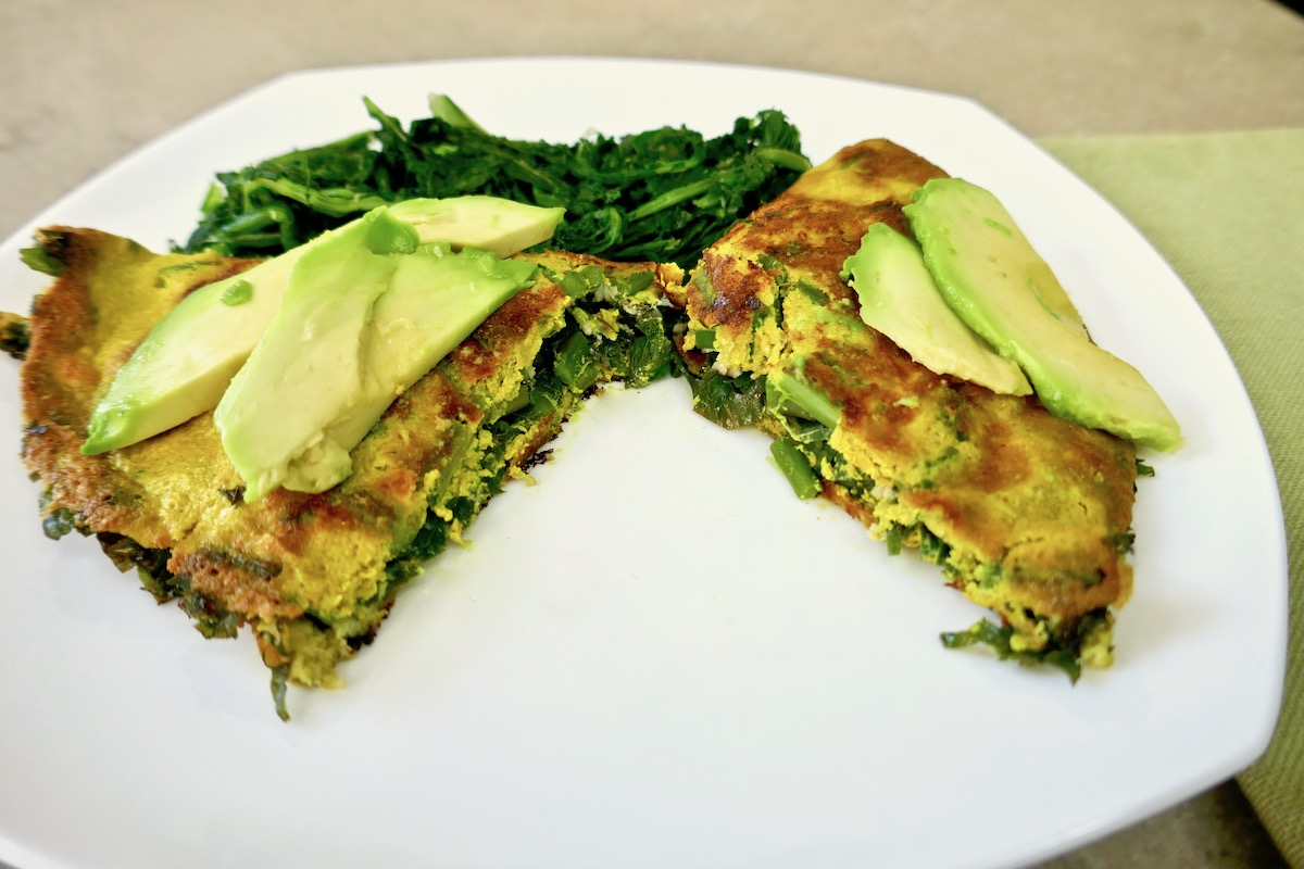 vegan greens omelet with avocado