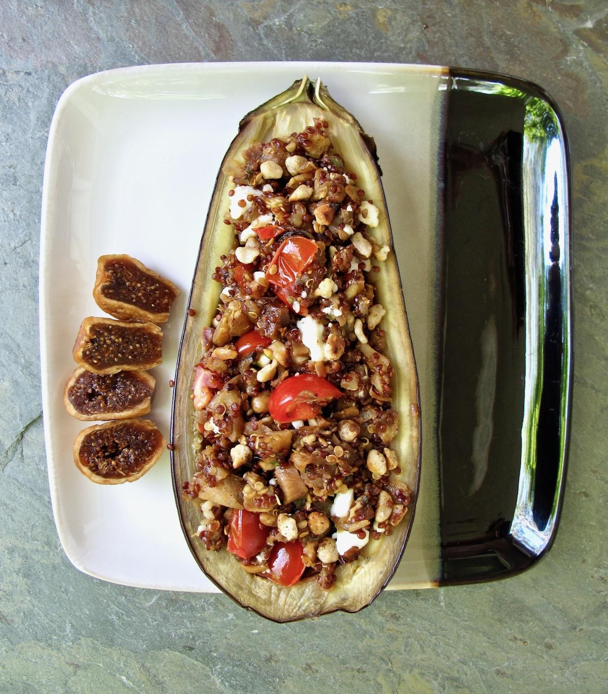 cauliflower rice stuffed eggplant