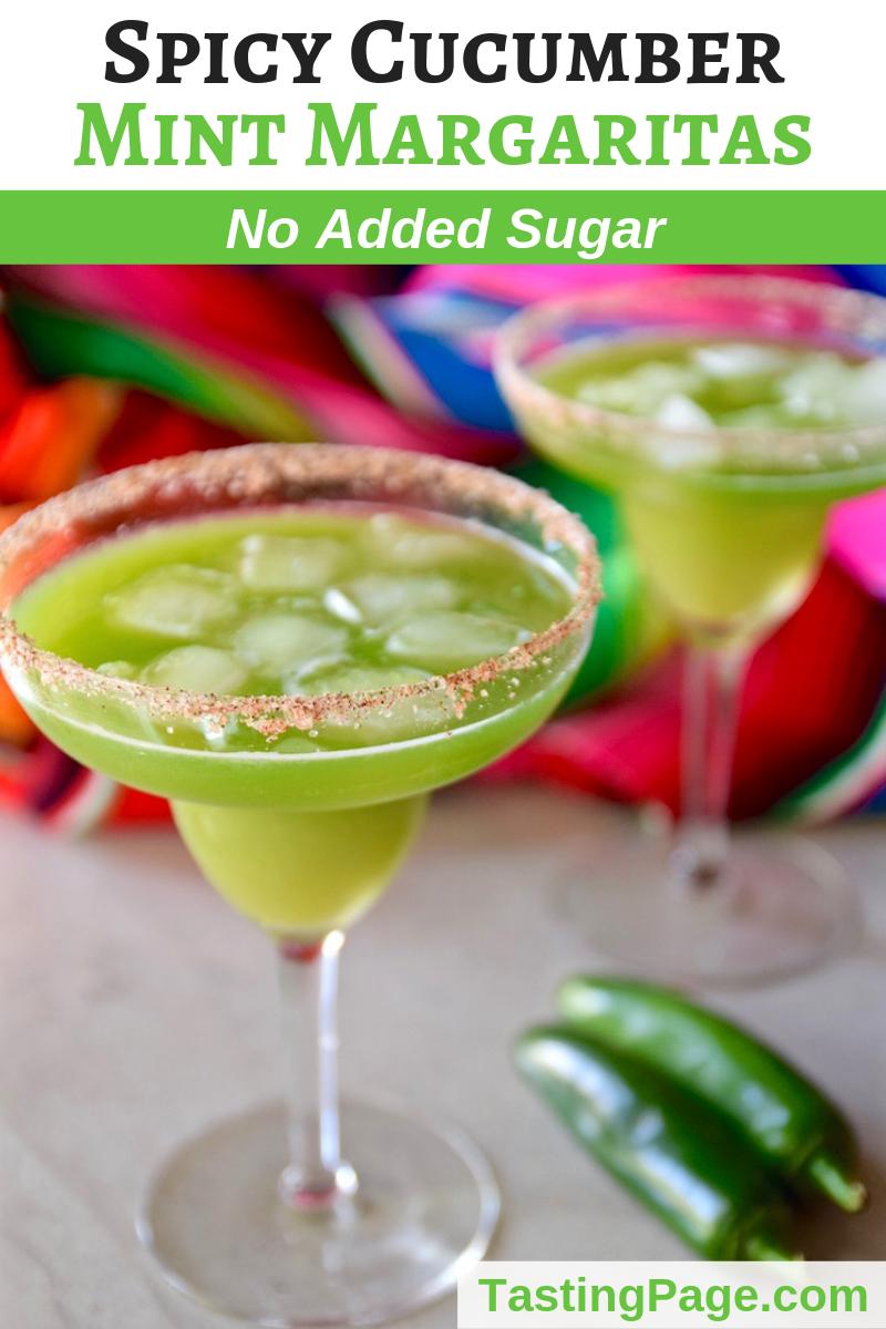 Sugar Free Spicy Cucumber Mint Margarita | TastingPage.com #sugarfree #cocktail #drink #cincodemayo #beverage #spicy #margarita
