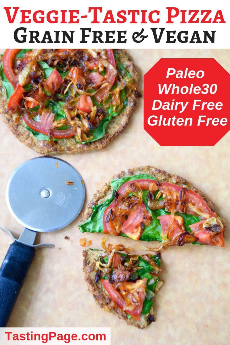 Healthy cauliflower crust pizza - it's paleo, vegan, gluten free, grain free and delicious | TastingPage.com #paleo #whole30 #pizza #paleopizza #grainfree #glutenfree #glutenfreepizza #whole30 #dairyfree #cauliflowercrust