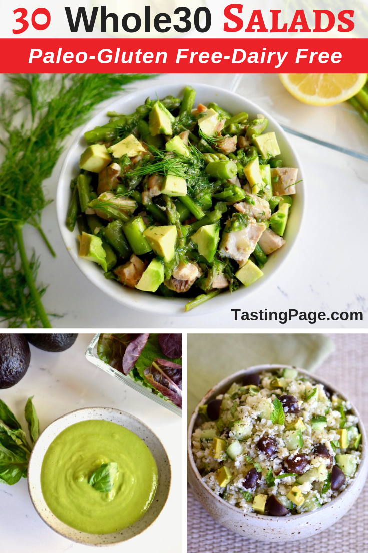 Whole 30 salad recipes - paleo, gluten free, dairy free - eat your way through the recipes across the summer | TastingPage.com #whole30 #whole30salad #salad #salads #paleo #paleosalad #glutenfree #dairyfree