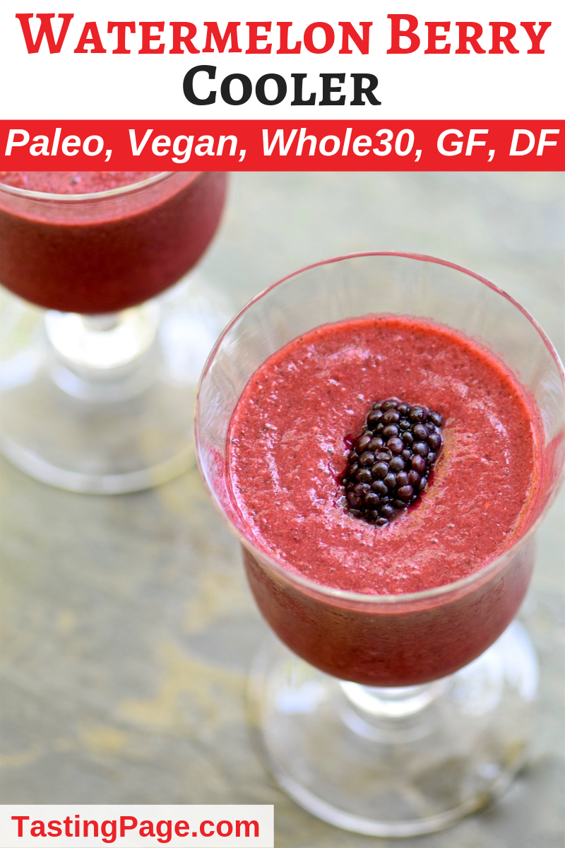 Watermelon Berry Cooler - a refreshing summer drink to enjoy with or without alcohol | TastingPage.com #watermelon #berry #cooler #smoothie #slushie #cocktali #drink #paleo
