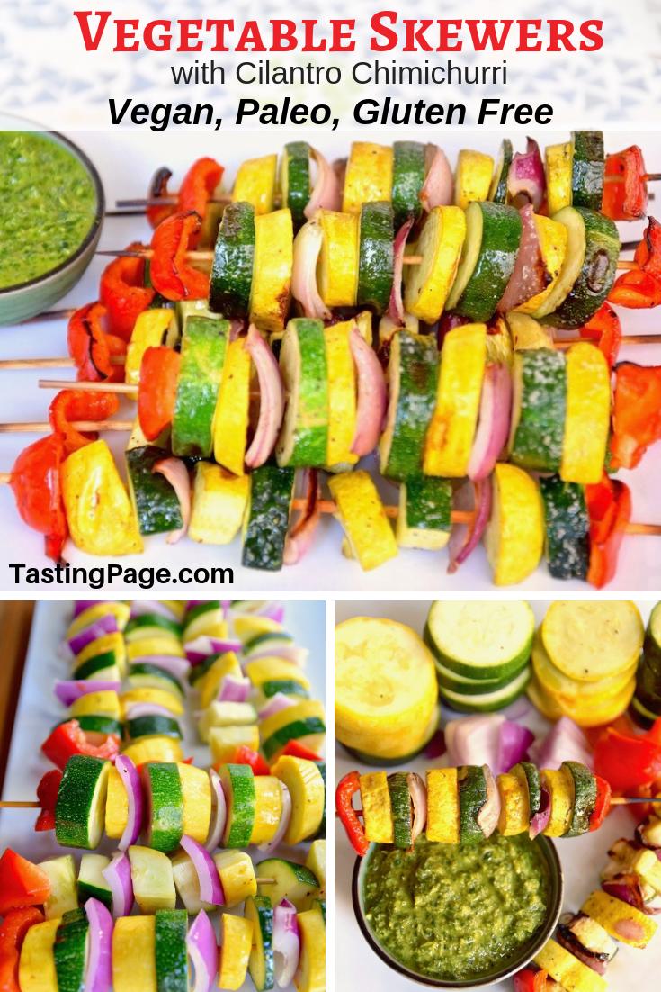 Vegetable skewers with cilantro chimichurri | TastingPage.com #paleo #whole30 #vegan #vegetarian #grill #bbq #vegetables