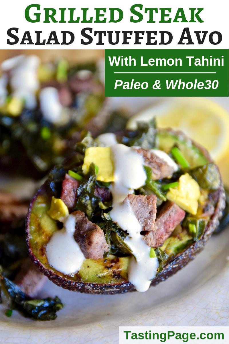Paleo grilled steak salad stuffed avocado - gluten free, dairy free | TastingPage.com #paleo #salad #avocado #steak #whole30 #paleorecipe #paleodiet