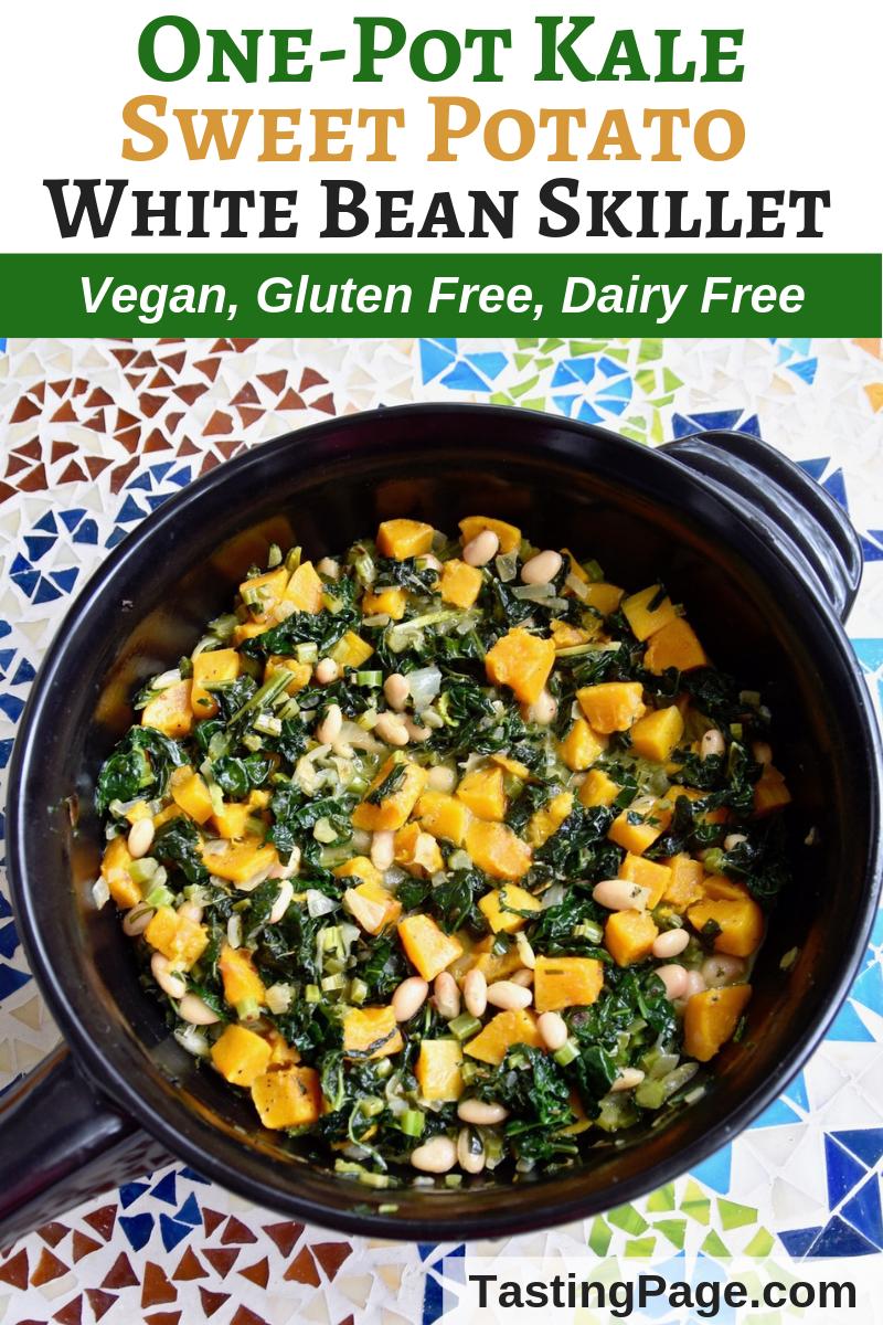 One-Pot Kale Sweet Potato White Bean Skillet - an easy one pot gluten free and vegan, healthy meal | TastingPage.com #vegan #onepot #glutenfree #dairyfree #vegandinner #veganrecipe #kale #sweetpotatoes