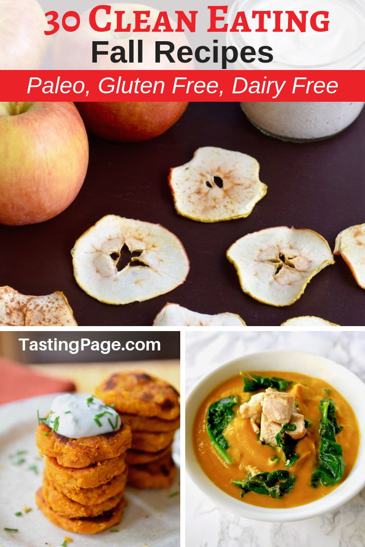Get ready for warm, comforting fall recipes by staying healthy with these clean eating ideas that are all gluten free, dairy free, and sugar free with paleo and vegan options | TastingPage.com #fall #fallrecipes #healthyrecipes #glutenfree #dairyfree #paleo #paleorecipes #fallrecipes