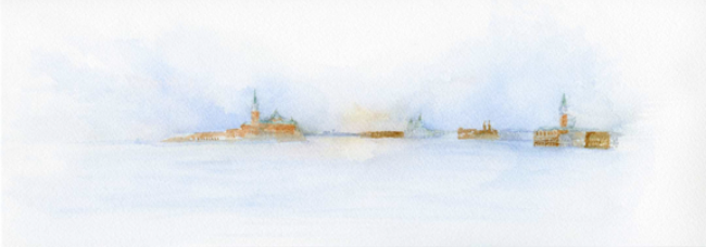 Venice from a distance in time and space, Watercolor on Arches paper ~ copyright © Sophia Khan
