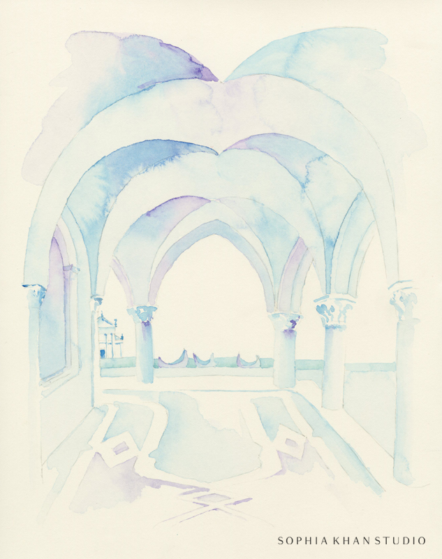 Watercolor on Arches paper. Copyright © Sophia Khan