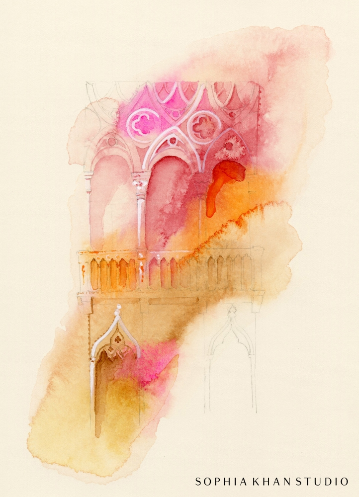 The Poetry of Venice, watercolor on Arches paper, copyright © Sophia Khan