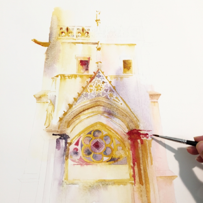 Work in progress watercolor of Saint-Chapelle, Paris. copyright © Sophia Khan