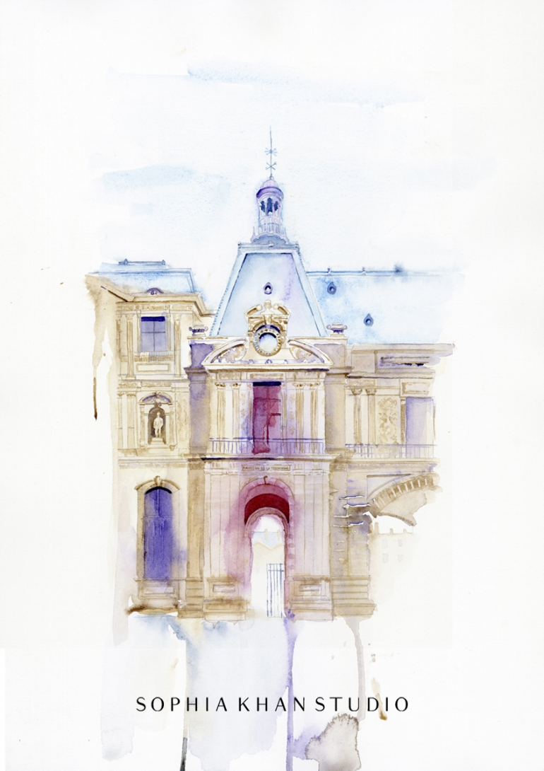 Parisian Romance ~ watercolor, copyright © Sophia Khan