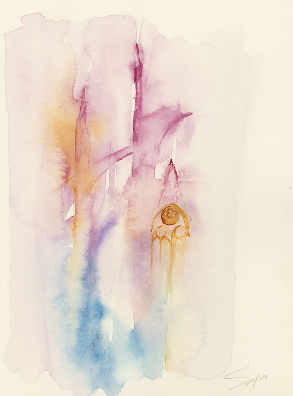 Poetry of Notre Dame, Paris, watercolor, copyright © Sophia Khan