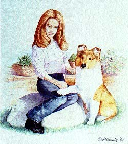 """Girl With Collie Pup"" 22 x 28"""