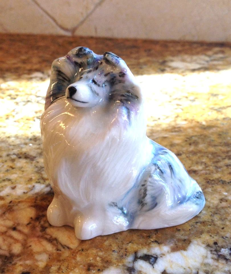 """Sitting Sheltie"" 2 3/4""H x 2 5/8""L x 1 3/4""W ~ $65 plus S&H."