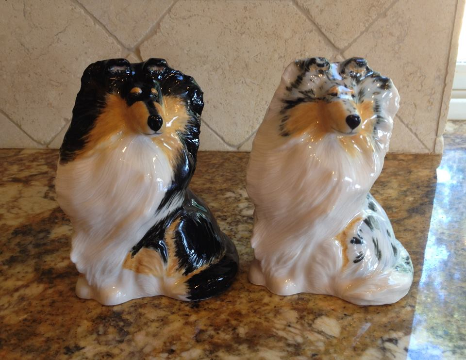 """Sitting Collies"" 5 5/8""H x 4 1/4"" L x 3 1/2""W ~$110 plus S&H."