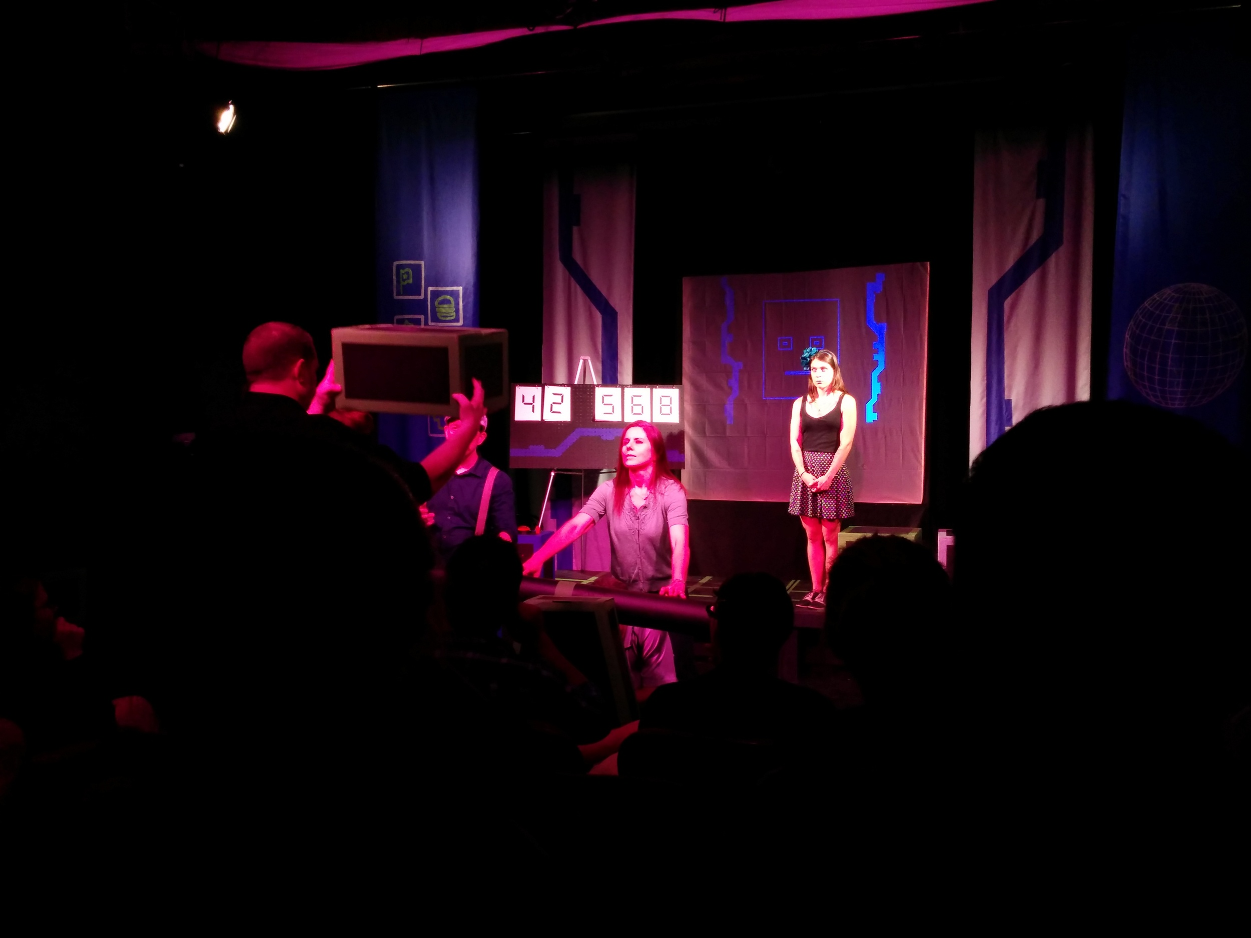 """""""Virtual Reality"""" mayhem is created during the International Improv Experience at the Hideout Theater."""