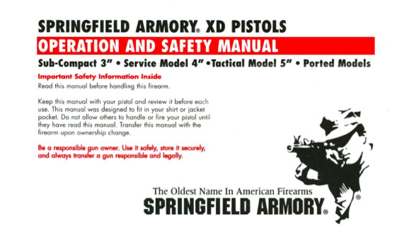 To view the PDF file of the 2nd version of the Springfield XD manual click the picture above.