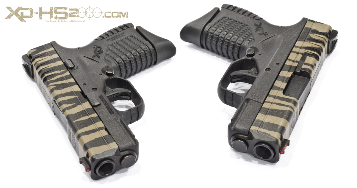 Showing each side of the Leupold Brown and Black tiger striped XDS.