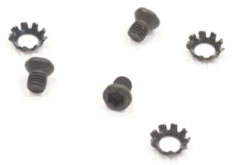 The three screws and lock washers included in the Sight Mount kit.