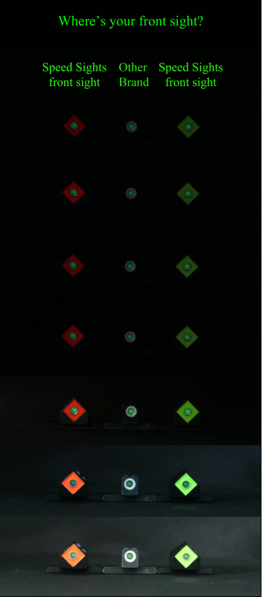 The Speed Sight Light test, both the Blaze Orange and Bright Green are tested against a white outline night sight.