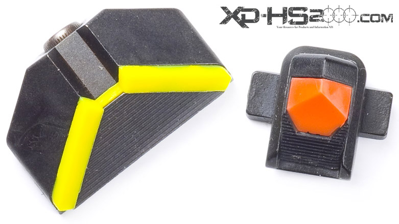 A top View of the Advantage Tactical Sight. The front has the orange high visibility insert installed. the rear has the yellow insert installed.