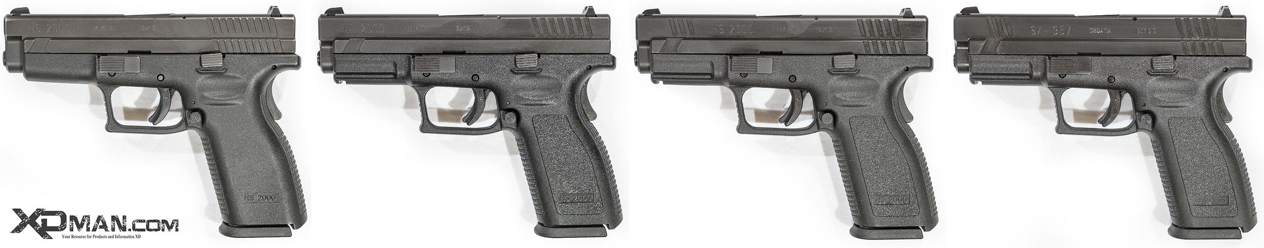 Above are generations 1-3 of the HS2000 pistols, with the last being an SA-357 that was essentially the precursor of the XD Pistol. The generation 0 pistols were never imported into the U.S. and is not pictured.