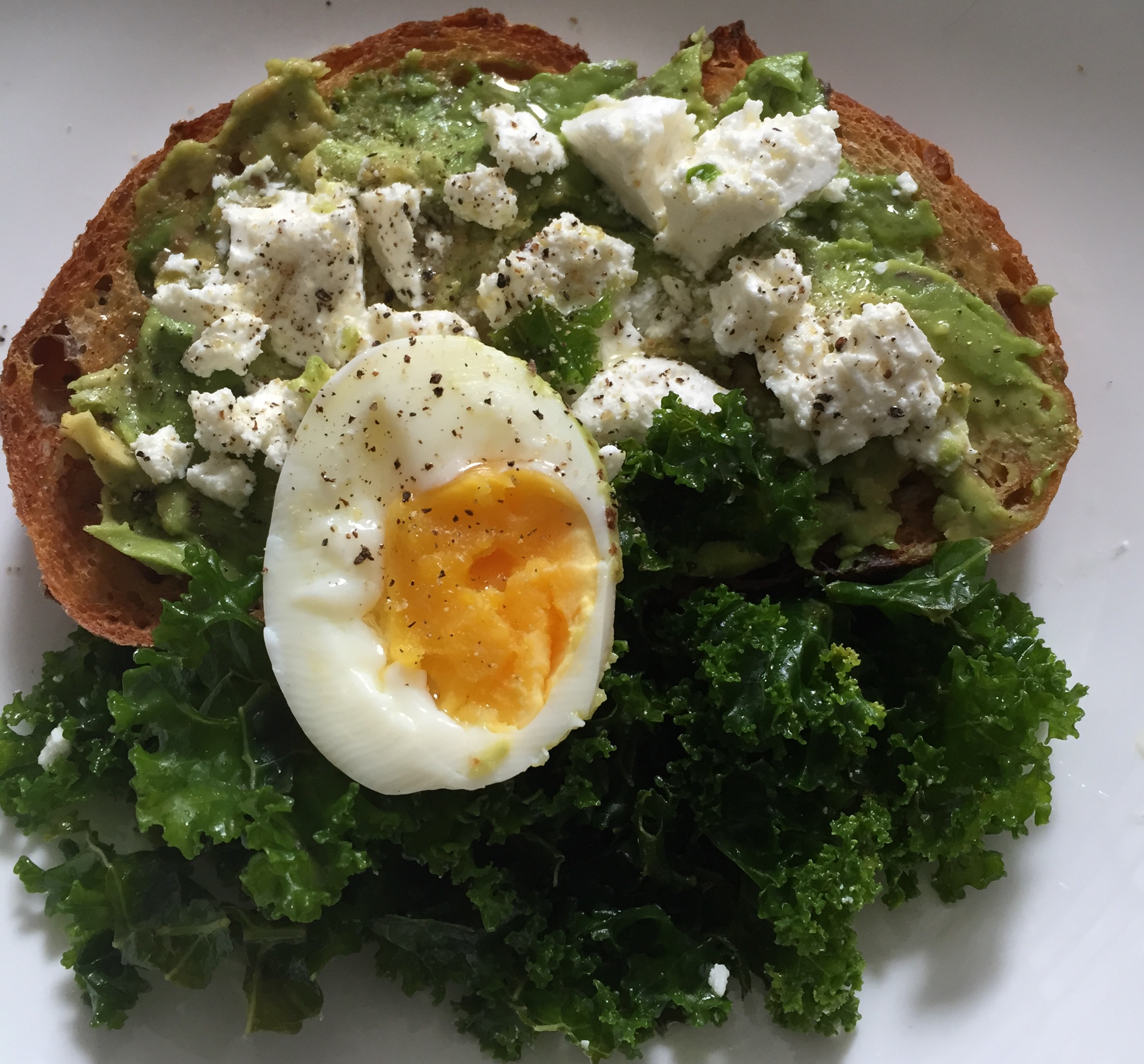 My favourite home made lunch - Avocado, Persian Fetta and lemon kale on sourdough
