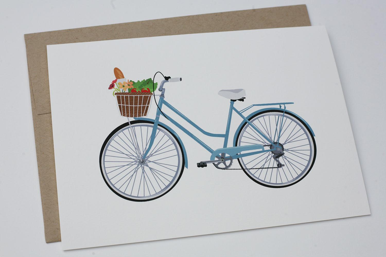 Farmers Market Bike Greeting Card