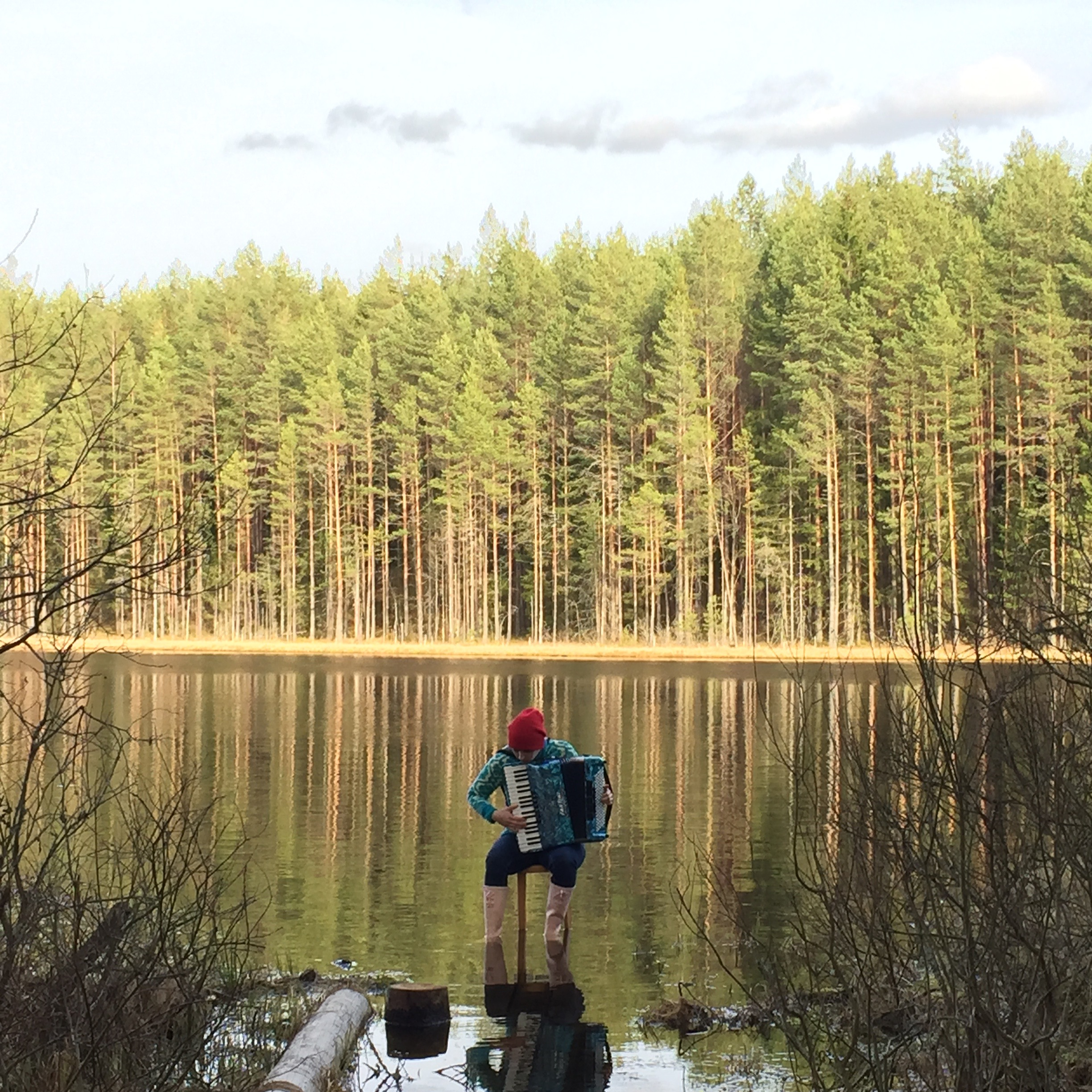 That's me playing in the bog lake in South Estonia during the international residency project  Active crossover  in 2015.