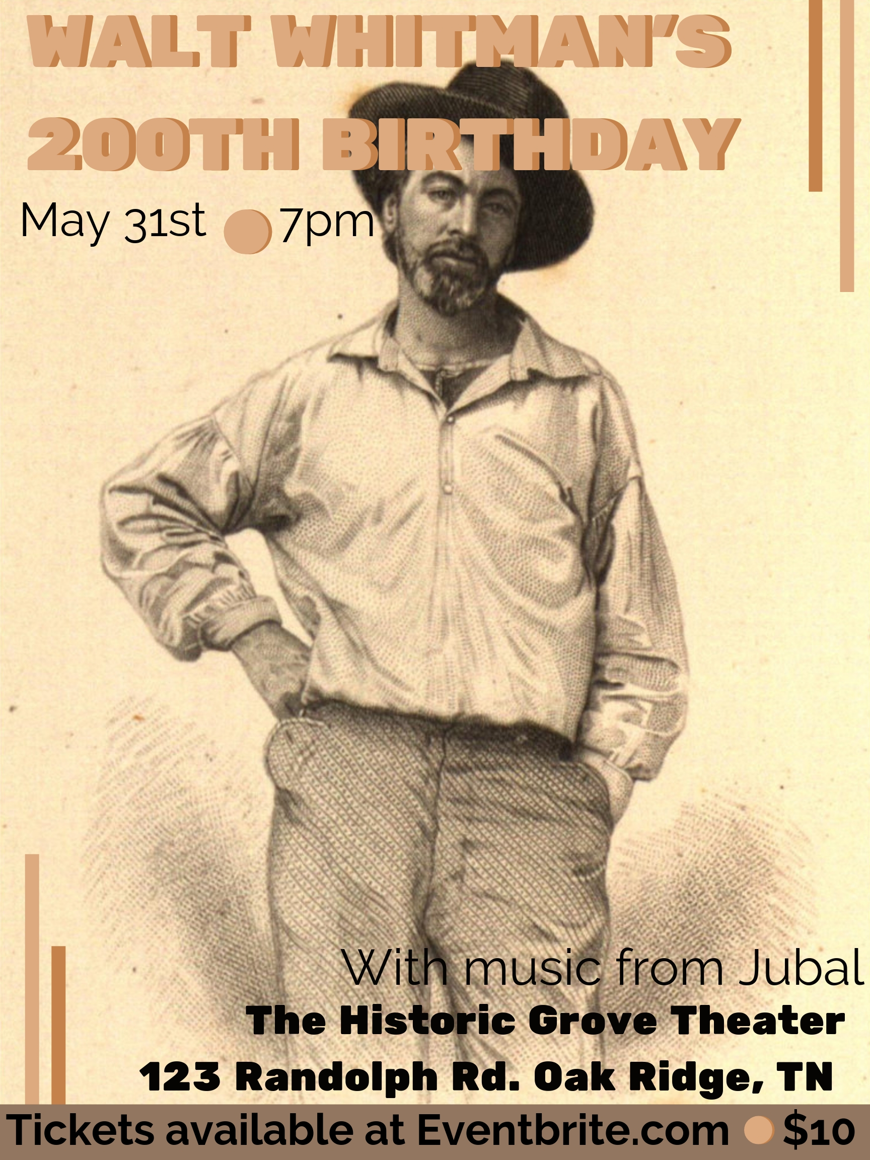 JUBAL - LIVE and in concert, 7:00 PMEast Tennessee favorite, Jubal combines rich harmonies, stellar song-writing, with a generous stage presence of Americana and folk blends that have made them one of the areas most sought after bookings.Song lyrics are breath-taking, poetic, and completely human, making them the perfect fit for Walt's 200th.Tickets available on Eventbrite for $10. Early bird pricing of $8 available until May 10.www.jubaltune.com