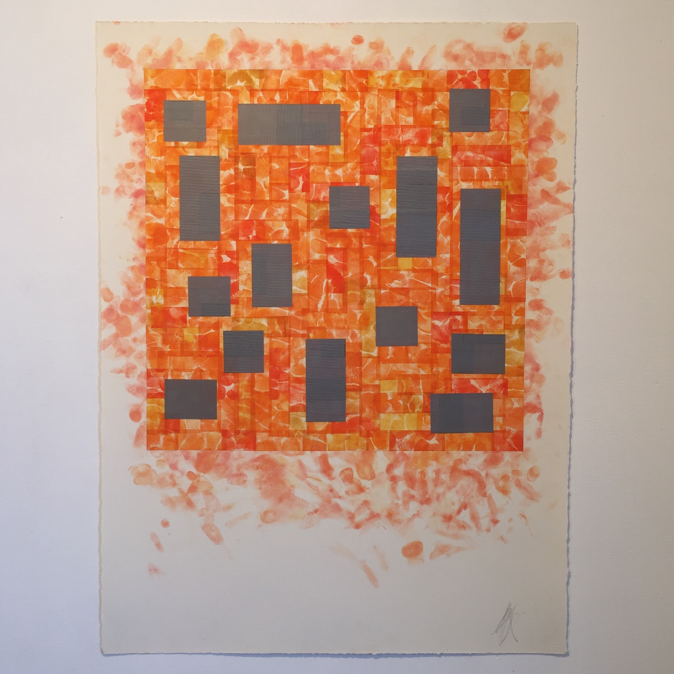 Untitled Drawing (orange with duct tape), 2019