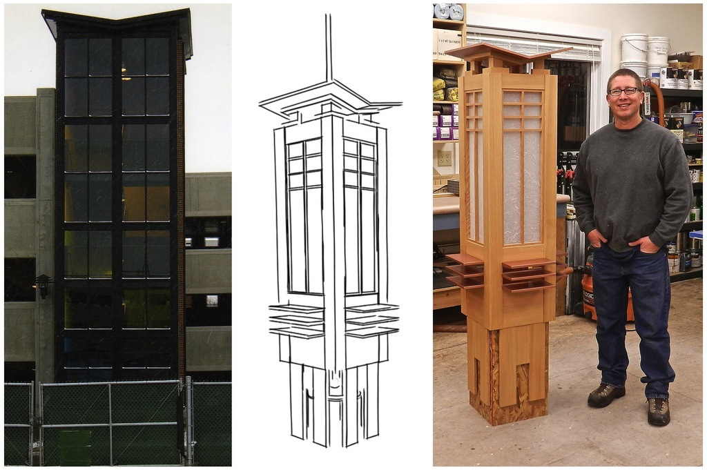 This 3 panel image shows the geometric inspiration for the prairie chandelier, the final drawing, and the fully constructed chandelier before installing at the Museum of the Rockies.