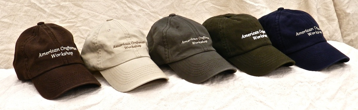 American Craftsman Workshop Hats come in dark brown, khaki, olive drab, dark green, and dark blue