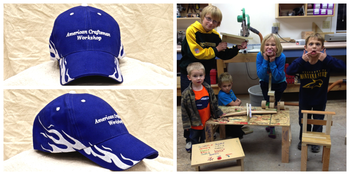 """The grandkids have picked the """"blue flame"""" hat for the American Craftsman Workshop."""