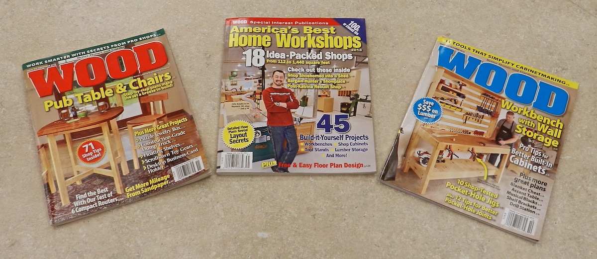 3 articles of woodworking tips in less than one year with WOOD Magazine: Nov 2012, America's Best Home Workshops 2013, and Oct 2013.