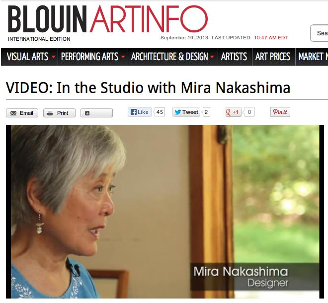 Check out  BlouinArtInfo.com  for Mira Nakashima video