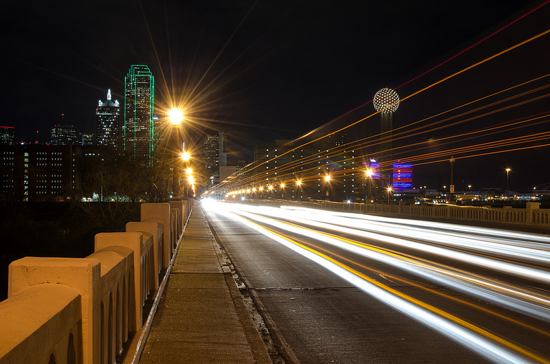 This was taken on W. Commerce St near the Trinity Overlook Park. I wanted to catch some car light trails with the skyline in the background. I waited for a Dart Bus to pass by and took this shoot. I was very close to the street and could feel the bridge vibrate as the cars drove by.