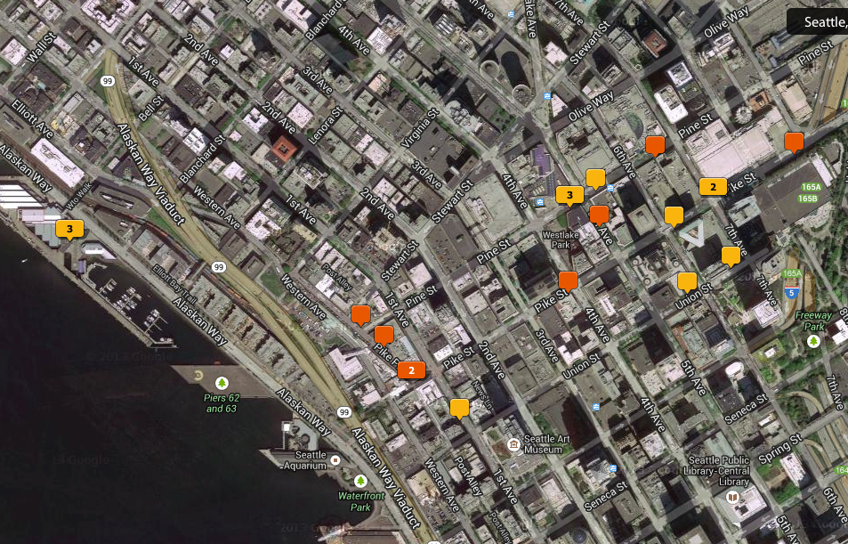 Map of the locations in Seattle where I took the street portraits.
